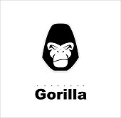 Simple flat of gorilla head in black and white.