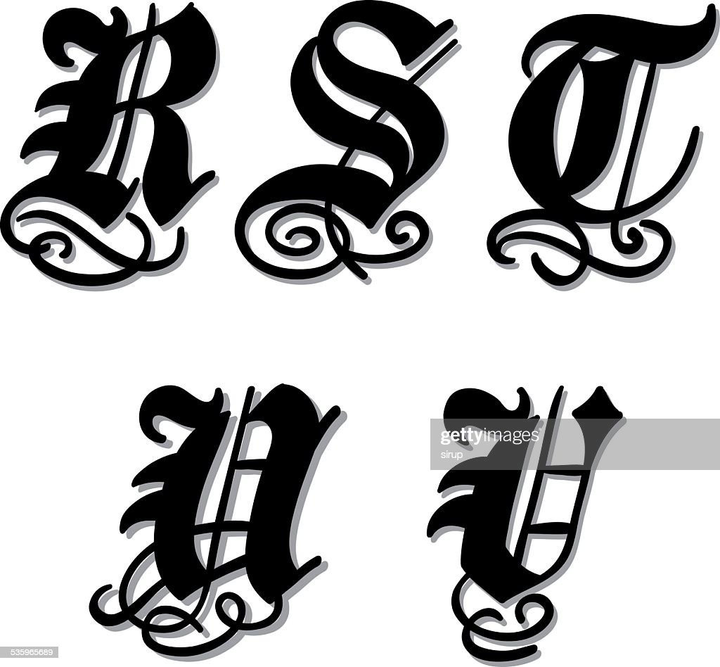 Gothic alphabet letters r, s, t, u, v : Vector Art