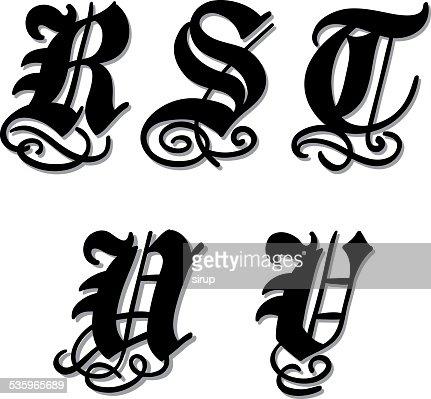 Gothic alphabet letters r, s, t, u, v : Vector Art