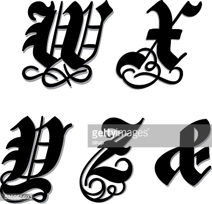Gothic alphabet letters w, x, y, z, ampersand : Vector Art