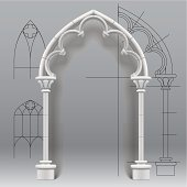 Vector image of the gothic arch against a paper background with architectural draft. EPS10. Contains transparent objects used for shadows effects. Zip-file includes: AI (v.10), JPEG (5000x5000) with t