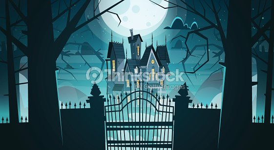 Gothic Castle Behind Gates In Moonlight Scary Building With Ghosts Halloween Holiday Concept
