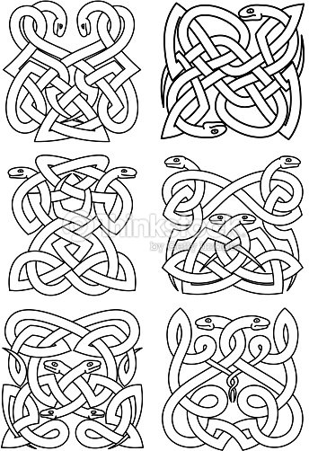 Gothic Celtic Snakes Knot Patterns Vector Art