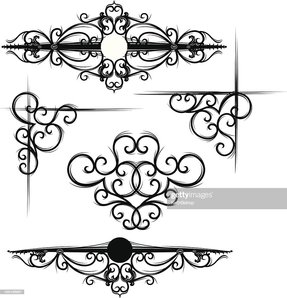 Gothic Designs gothic scroll and corner designs vector art | getty images