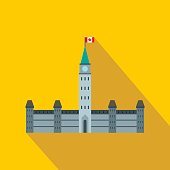 Government building icon in flat style on a yellow background