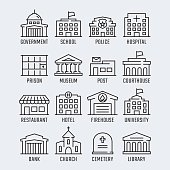 Government buildings vector icon set in thin line style