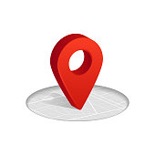 3D Gps red color icon dropping on street map in white background. Vector illustration