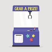 Grab a prize. Toy grabber. One-armed bandit. Slot machine / flat editable vector illustration, clip art