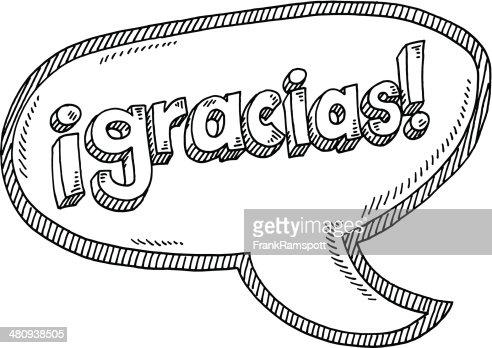 Gracias Texte Espagnol Bulle De Dialogue Dessin Clipart