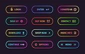Gradient action buttons. Flat web submit form, modern transition sign, game navigation ui design element. Vector gradient button set