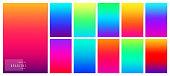 Gradient background. Creative soft color design for mobile app. Bright modern concept set. Vector illustration