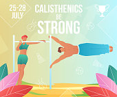 Cartoon flat characters do modern sport activity,landing page,sports flyer banner poster,web online concept,healthy lifestyle summer design.Flat cartoon family people training calisthenics on beach