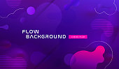 Gradient fluid background design layout for banner or poster. Cool 3d liquid vector pattern with blue violet shape in motion.
