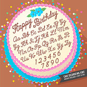 Gradient free vector cake decorator icing font with birthday cake. Easy to edit, brushes included