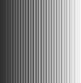 Gradient lines seamless pattern. Vertical black stripes, parallel white lines from thick to thin. Vector Pattern with gradient effect. Template for backgrounds and stylized textures. EPS10.