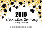 Graduate caps on the gold confetti background. Graduate ceremony horizontal banner or card. Vector illustration