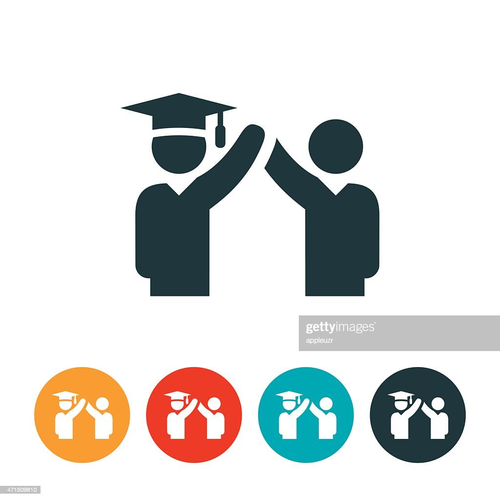 Graduate Celebrating Graduation Icon Vector Art | Getty Images