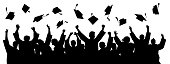 Graduates throwing cap. Silhouette high achievements. School student hat vector