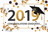 Graduating class of 2019. Poster, party invitation, greeting card in gold colors. Grad poster, vector illustration.