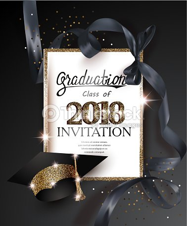 Graduation 2018 party invitation card with hat and long black silk graduation 2018 party invitation card with hat and long black silk ribbon vector illustration stopboris Image collections