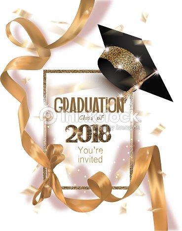 帽子と長い金の絹のリボンと紙吹雪卒業 2018年のパーティの招待状