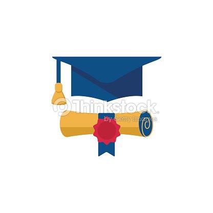 Cap de graduación y diploma enrollado icono de diseño plano de  desplazamiento.   Arte vectorial c4bef4973b9
