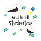Graduation cap with flag of Sweden, Greeting Card vector illustration. Swedish Translation: ' Congratulations on graduation! '