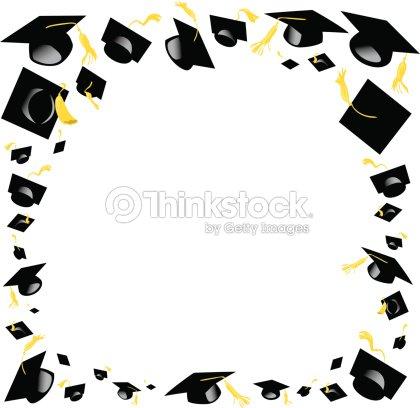 Graduation Caps Frame C Vector Art   Thinkstock
