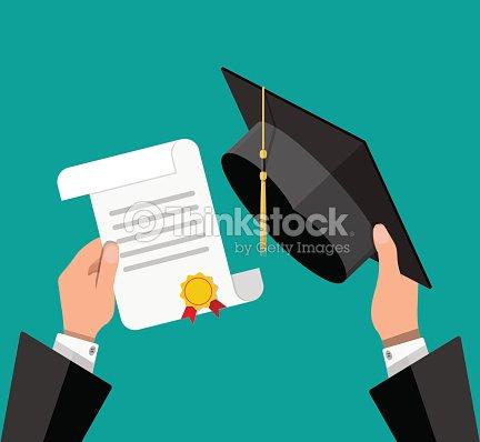 Sombrero de graduación y diploma de manos del estudiante   Arte vectorial 35788631755