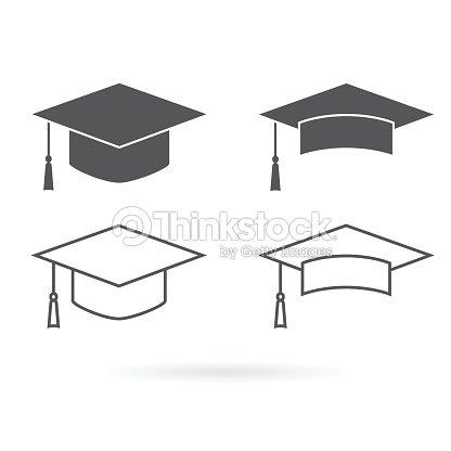 be5017bc5 Icono de vector de sombrero de graduación aislado sobre fondo blanco   arte  vectorial