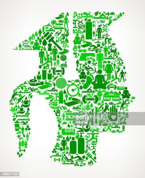 Dem Studium Gesundheits- und Wellness-Icon Set Hintergrundmuster