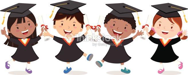 Graduation Kids Celebration Isolated Vector Art