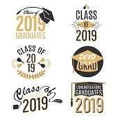 Graduation labels and tags set isolated on white background. Vector illustration