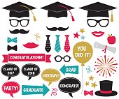 Vector graduation party design elements and photo booth props