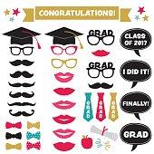 Graduation party vector set (caps, lips, mustaches)