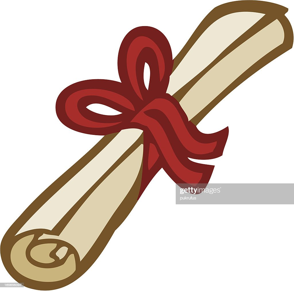 Graduation Scroll Tied With A Ribbon Vector Art | Getty Images