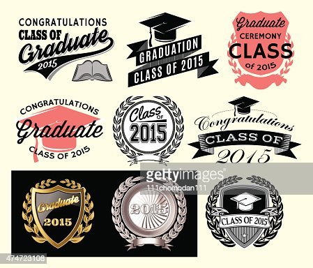 Graduation sector set for class of 2015 : Vector Art