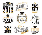 Graduation wishes overlays, lettering labels design set. Retro graduate class of 2018 badges. Hand drawn emblem with sunburst, hat, diploma, bell. Isolated. Sign or symbol