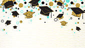 Graduation word with graduate cap, black and gold color, glitter dots on a white background. Congratulation graduates class of. Design for greeting, banner, invitation. Vector illustration.