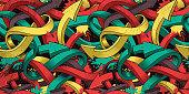 Seamless colourful background of Graffiti on dark background.