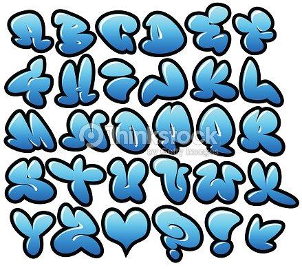 graffiti polices vectorielles avec bulle bleu brillant et des contours clipart vectoriel. Black Bedroom Furniture Sets. Home Design Ideas