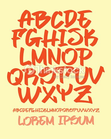 Graffiti Font Hand Written Vector Alphabet Vector Art