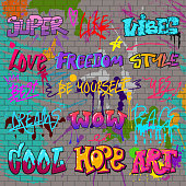 Graffiti vector graffito of brushstroke lettering or graphic grunge typography illustration set of street text with love freedom isolated on brick wall background.