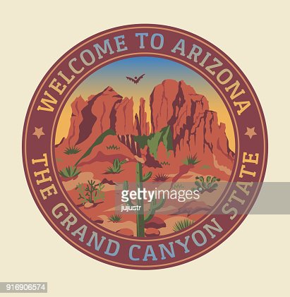 Grand Canyon landscape + mountains, rocks, stones, cactuses, slogan, prairie. Arizona state illustration for round sticker, emblem in retro style. : stock vector