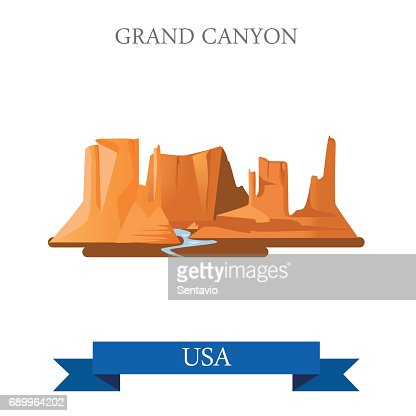 Grand Canyon National Park in Arizona United States. Flat cartoon style historic sight showplace attraction web site vector illustration. World vacation travel sightseeing North America USA collection : stock vector