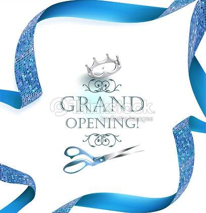 Grand opening invitation card with scissors and blue curly ribbon grand opening invitation card with scissors and blue curly ribbon vector illustration vector art stopboris Gallery