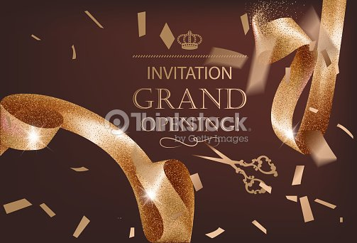 Grand opening invitation card with sparkling background and curly grand opening invitation card with sparkling background and curly elegant gold ribbon vector illustration stopboris Image collections