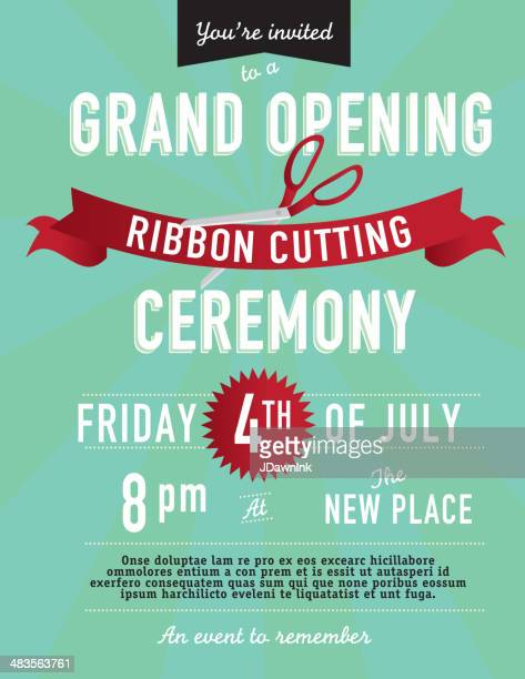 Grand opening Ribbon cutting invitation design template