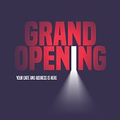 Grand opening vector illustration, background with open door, light and lettering sign. Template banner, flyer, design element, decoration for opening event
