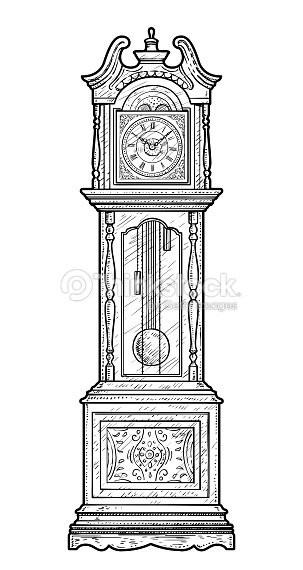 Line Drawing Clock : Grandfather clock illustration drawing engraving ink line